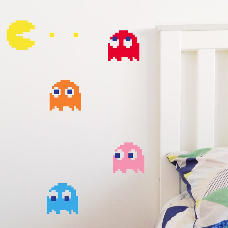 retro pac man ghosts wall sticker video game decor