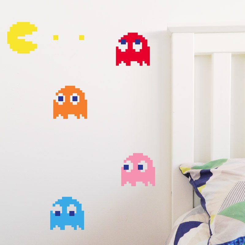 retro pac man ghosts wall sticker video game decor