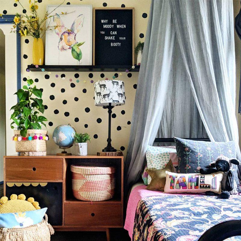 polka dot wall stickers hand drawn tween walls