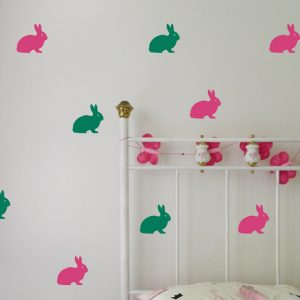 Rabbit Wall Sticker colourful rabbit wallpaper pattern