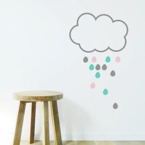 nursery decal rain cloud wall sticker drops and cloud