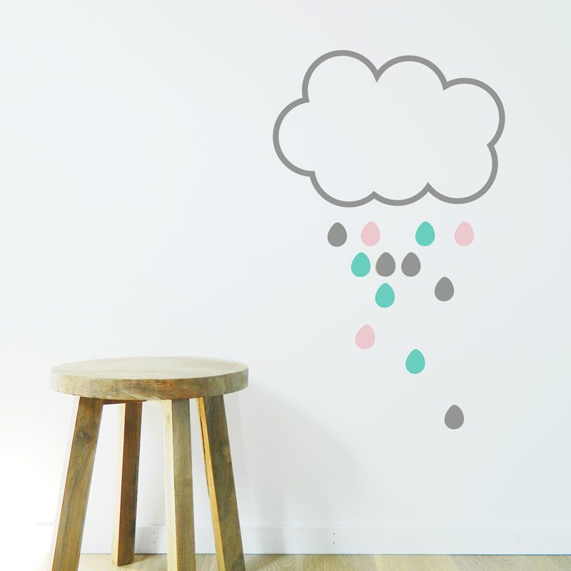 nursery decal rain cloud wall sticker drops and cloud