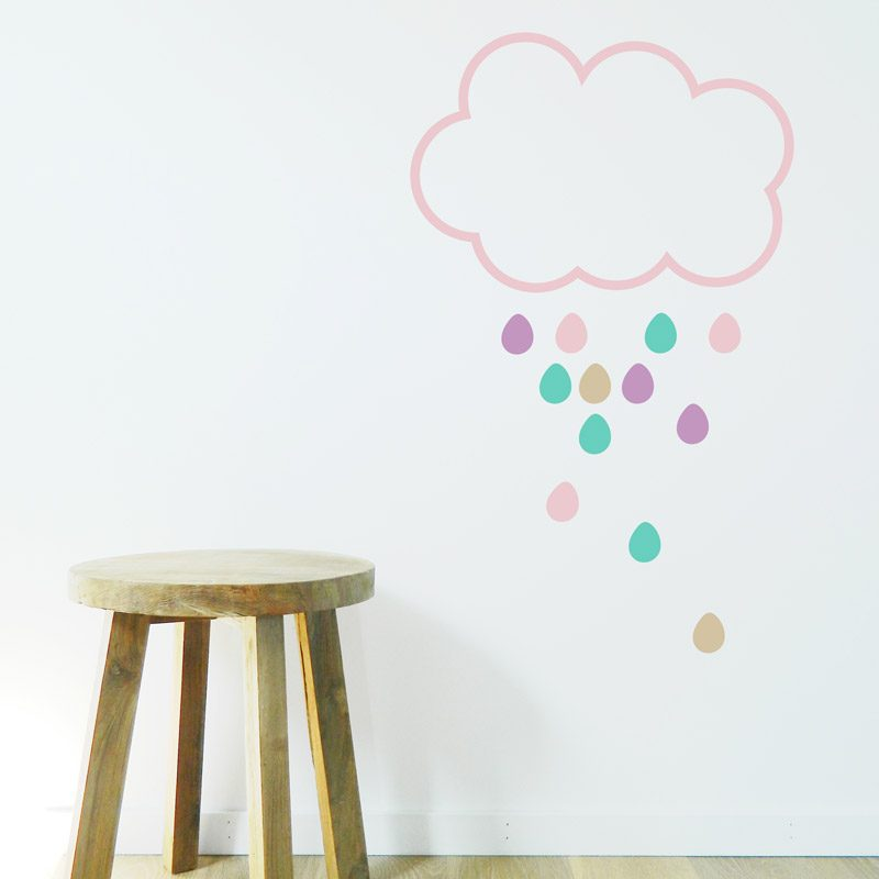 pink rain cloud on kids wall