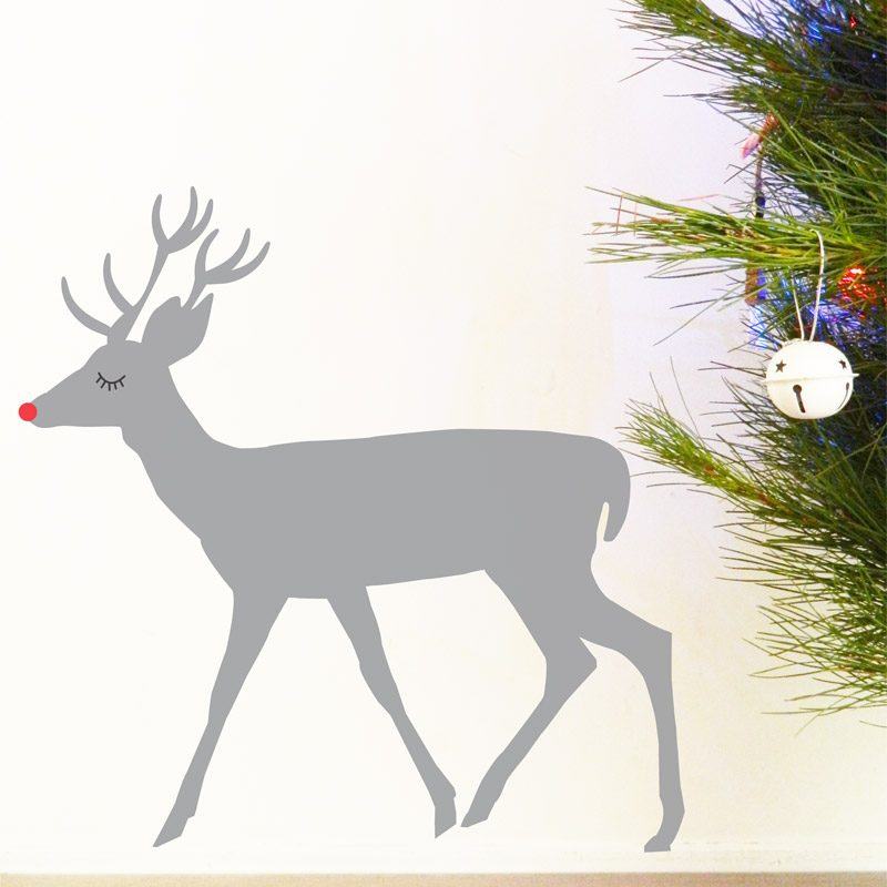 silver rudolf reindeer christmas decal