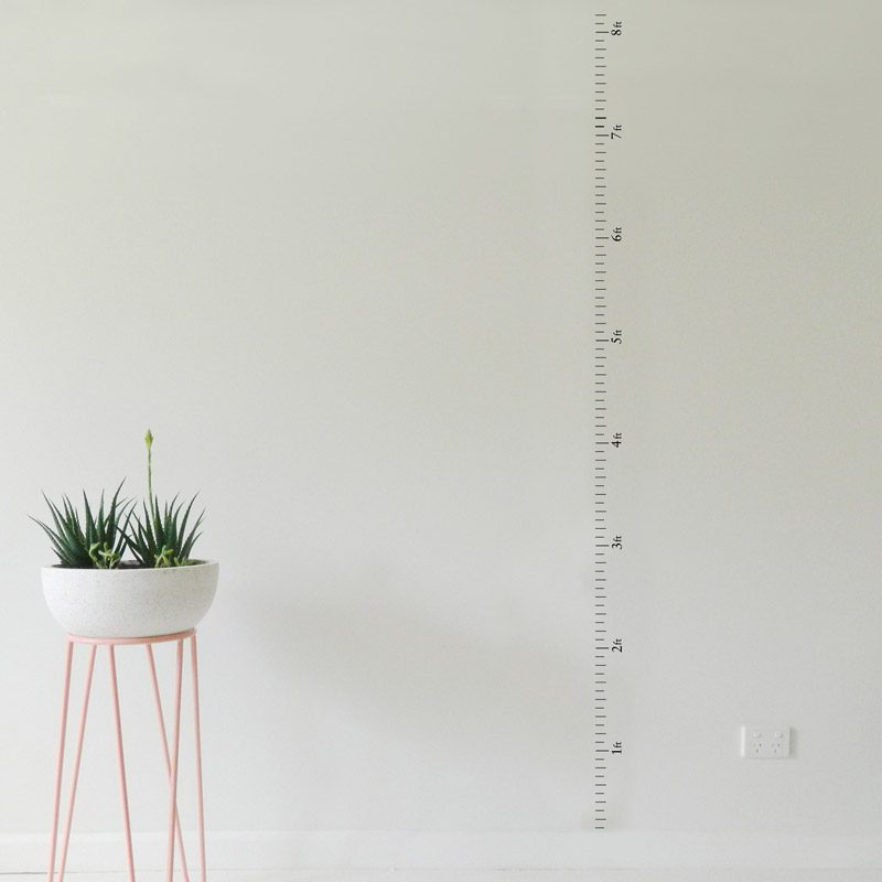 measuring chart wall decal in ft