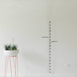 measuring tape height chart wall decal