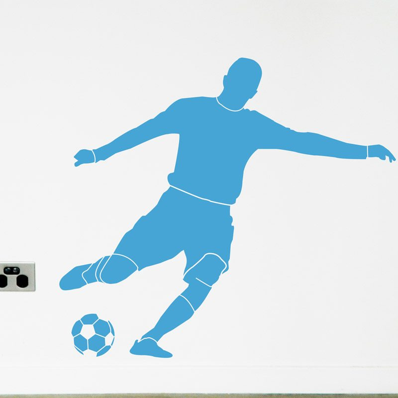 Football Player kick soccer ball blue