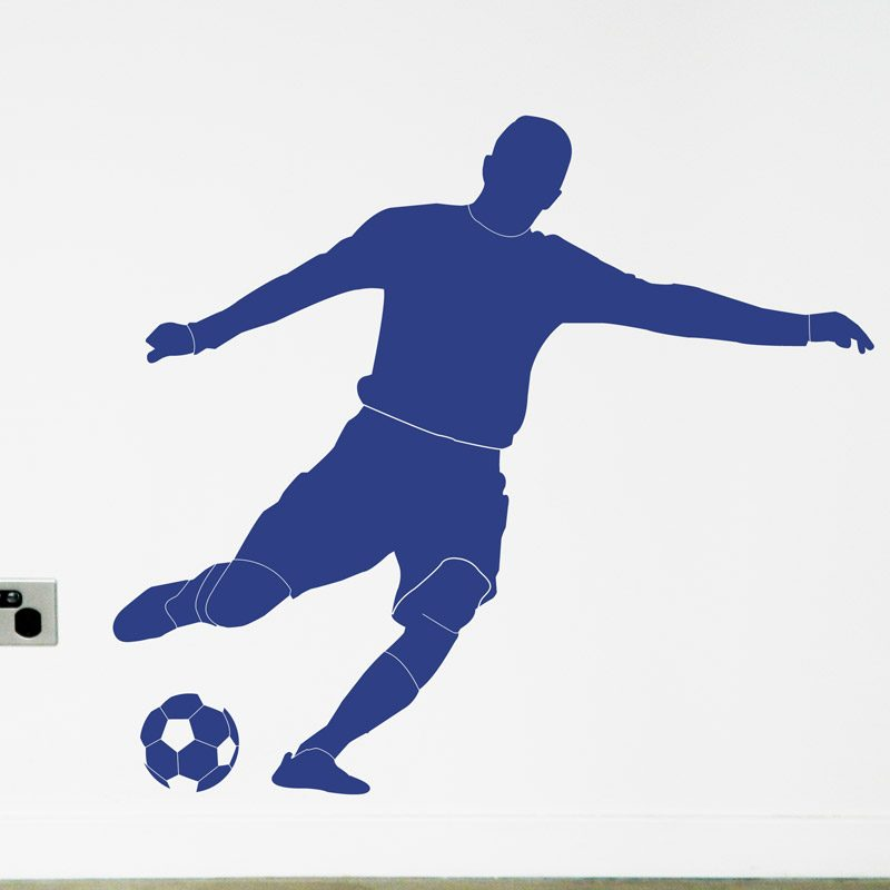 Blue Soccer Footballer wall decal boys room