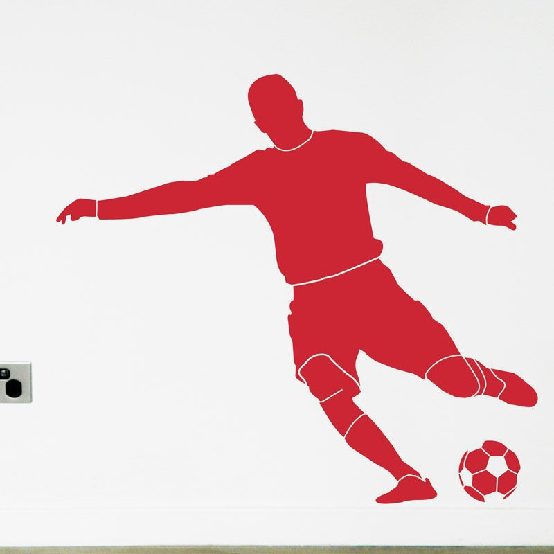 Footballer kicks goal boys bedroom decal