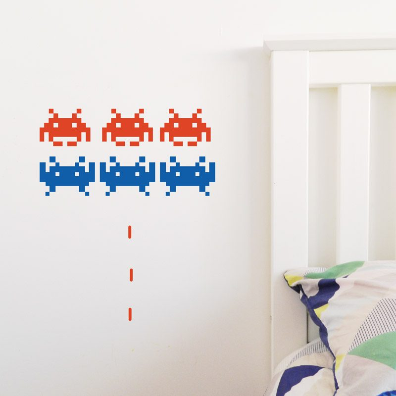space invaders wall sticker video game wall decal space