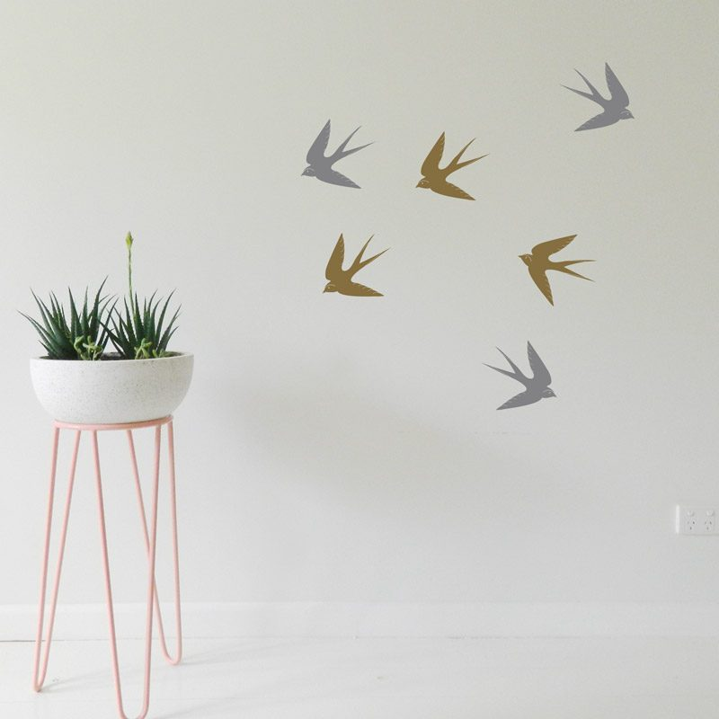 silver flying birds wall art