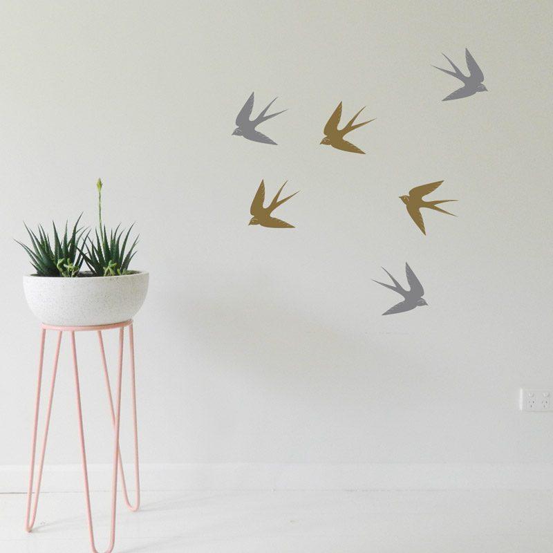 silver flying birds wall art