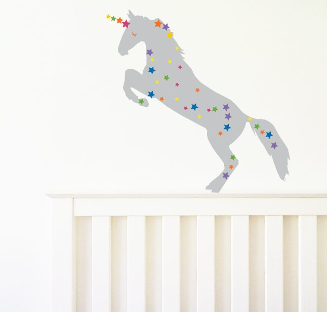 Unicorn Wall Sticker grey unicorn stars wall decal