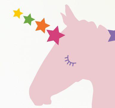 pink unicorn head wall decor