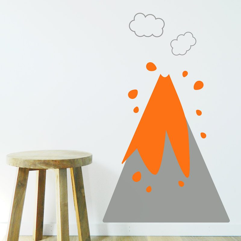 orange lava volcano decal
