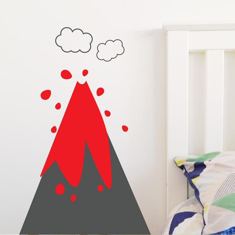 volcano wall sticker lava wall decal boys room