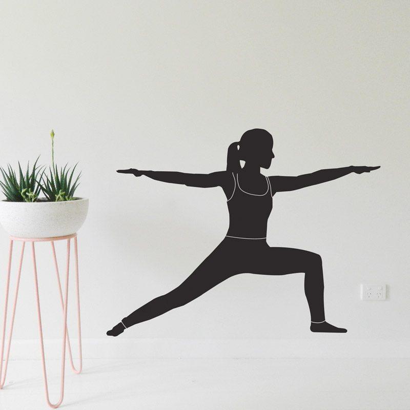 yoga wall sticker warrior yoga pose wall decal