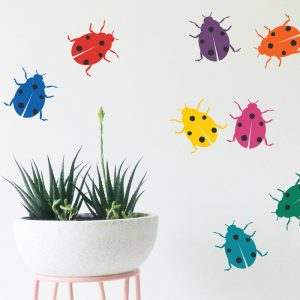 ladybird wall stickers multi coloured wall art for kids rooms
