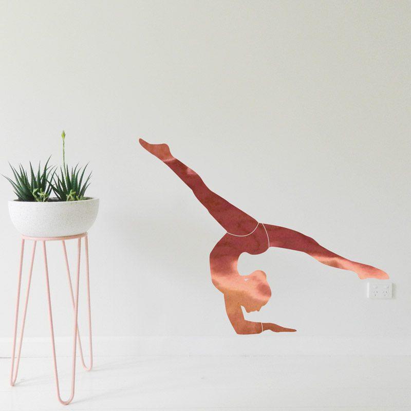 gymnast wall sticker rose gold