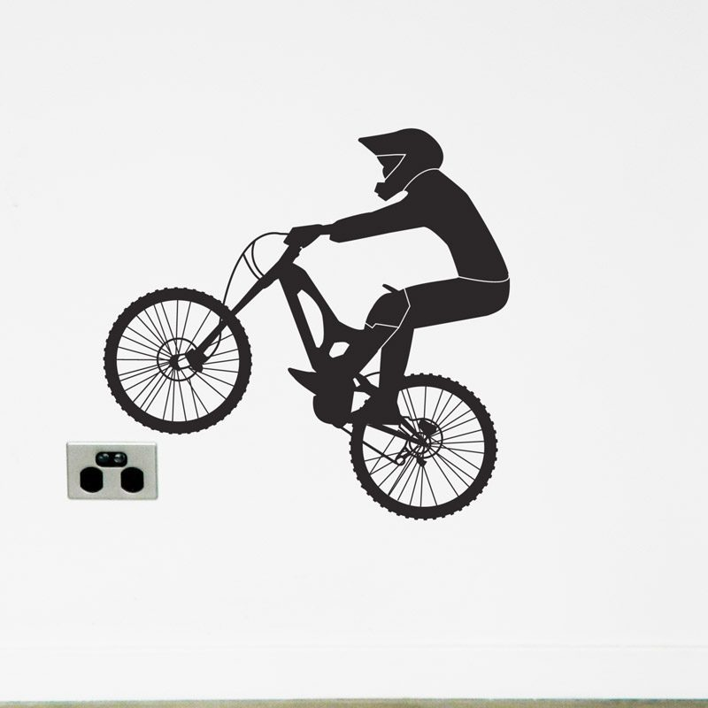 mountain bike wall sticker with rider