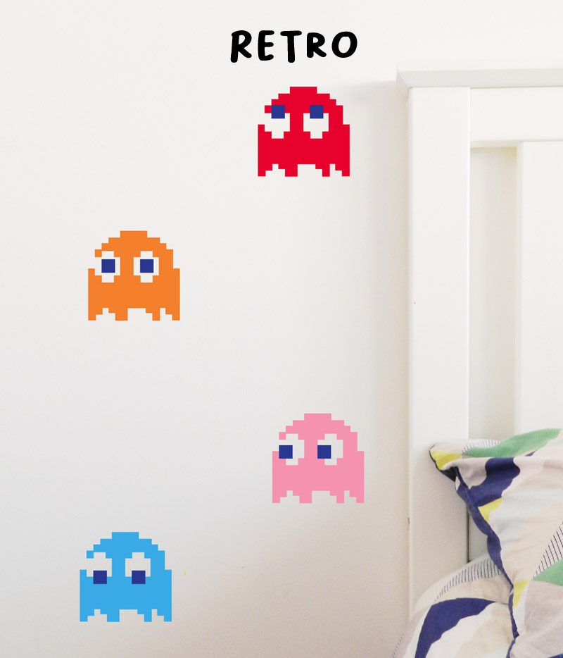 retro vintage wall stickers pac man ghosts wall stickers decals