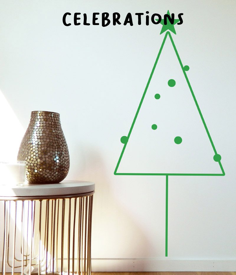 kid's wall stickers celebration green christmas