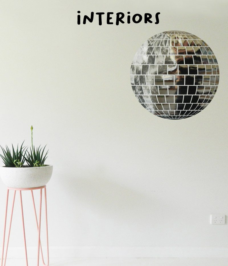 kid's wall stickers interiors mirror disco ball