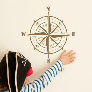 compass wall sticker gold