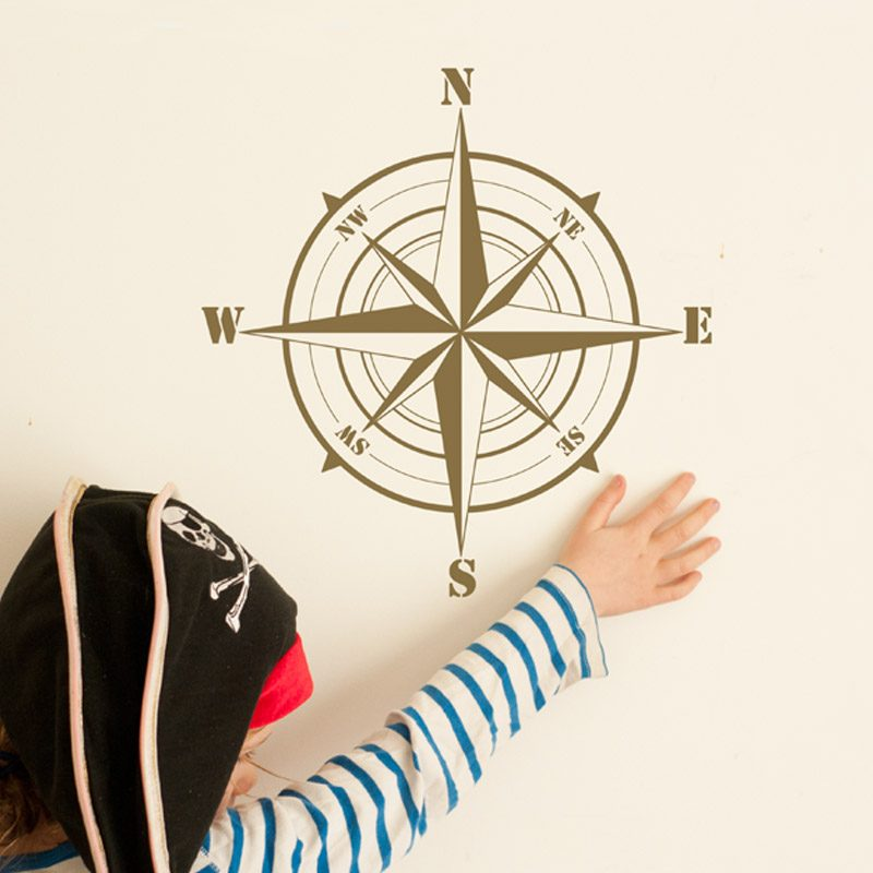 compass wall sticker gold