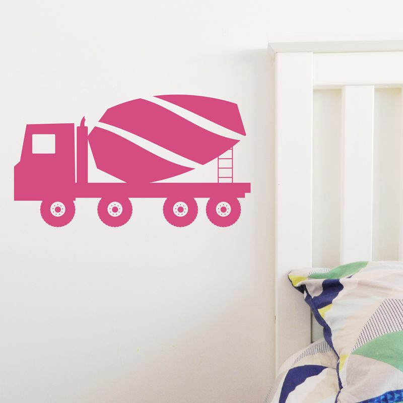 cement mixer truck wall sticker pink