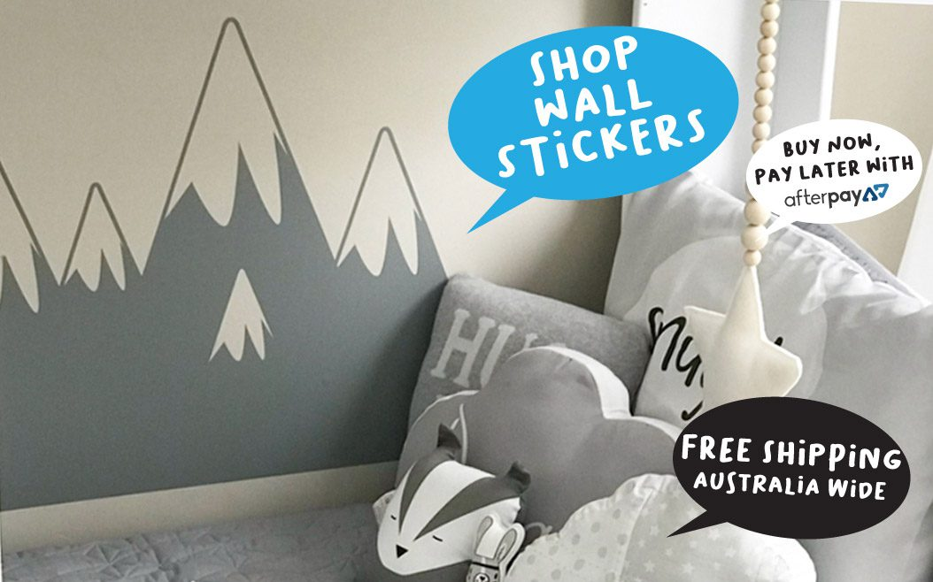 kid's wall stickers nursery decals designed and made in Australia mountain wall sticker afterpay