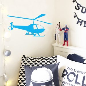 helicopter wall sticker blue