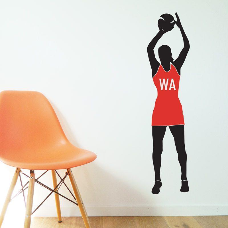 netball player wall sticker england red bib