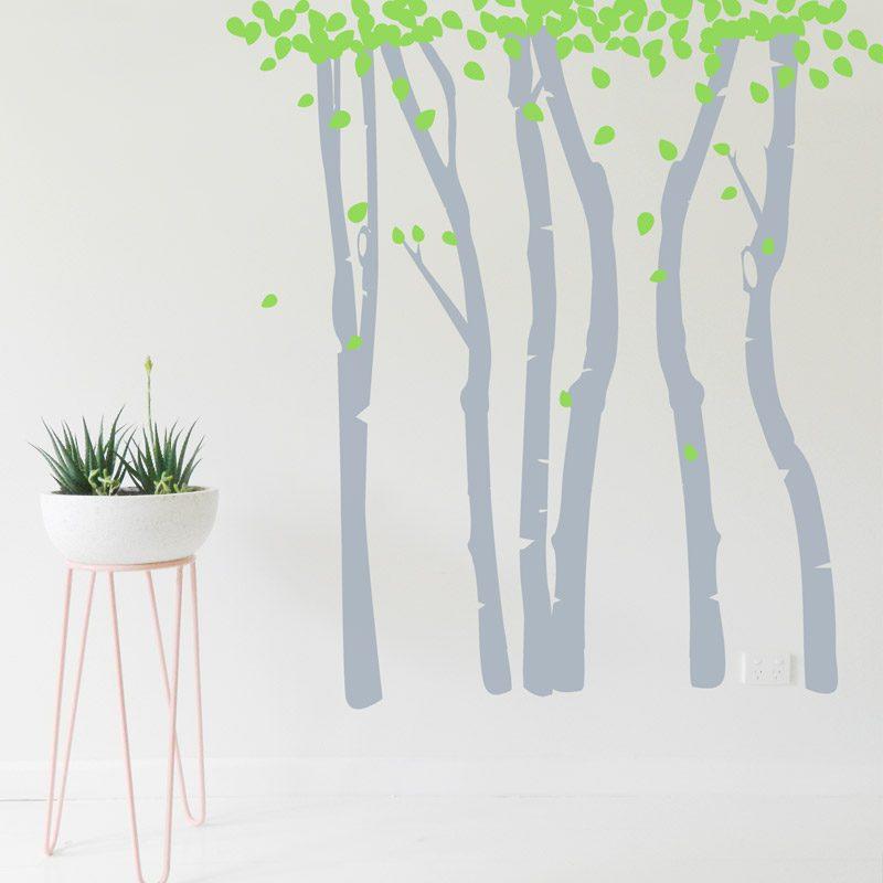 birch tree forest wall sticker