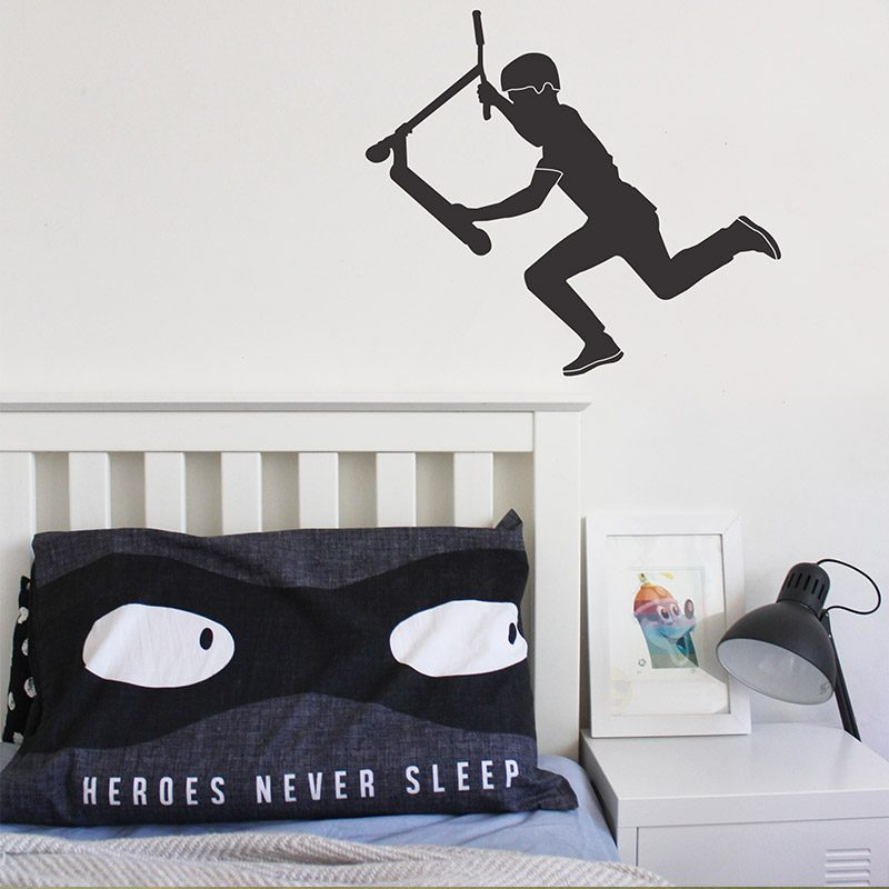 scooter rider wall sticker