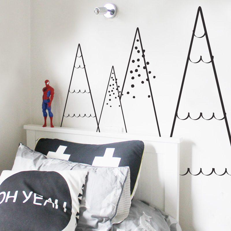 triangle mountain tree wall sticker