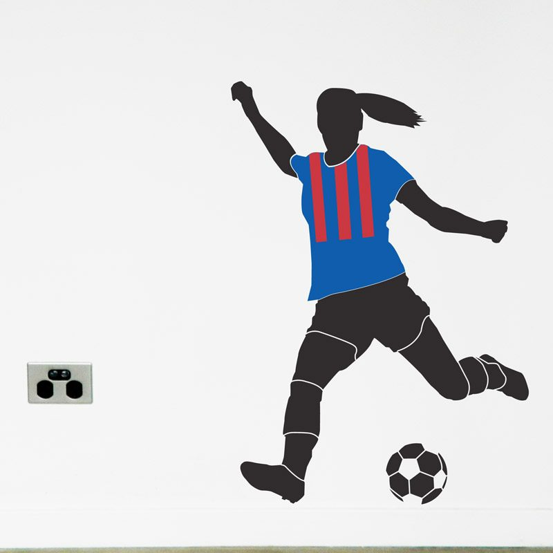 women's soccer player striped wall decal