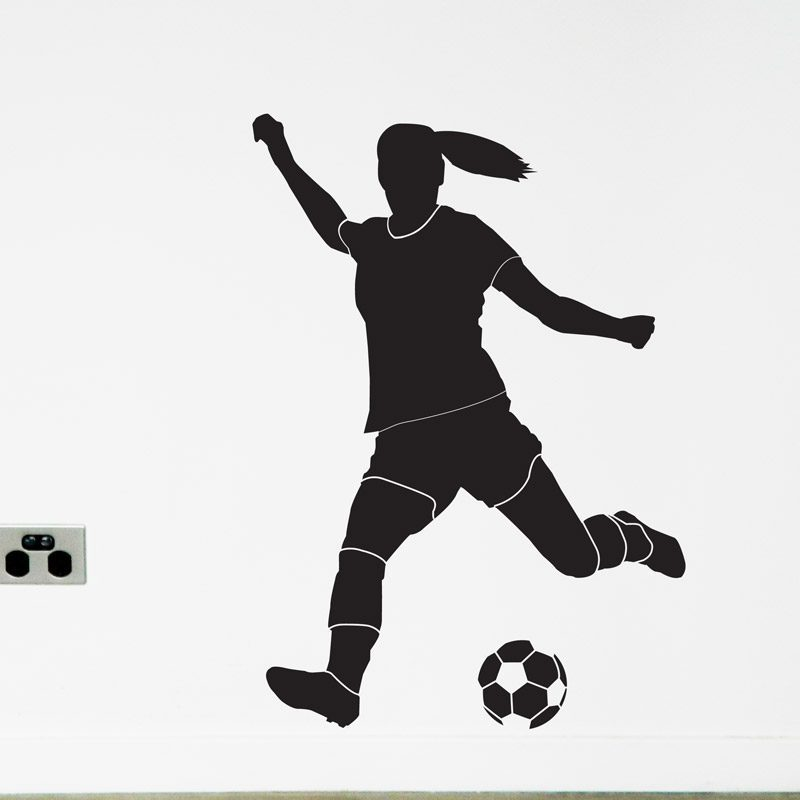 women's soccer player wall decal