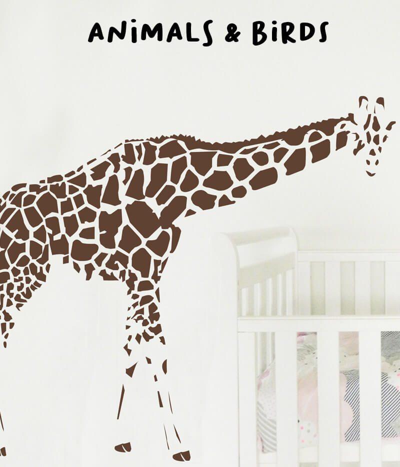 kid's wall stickers animal birds giraffe