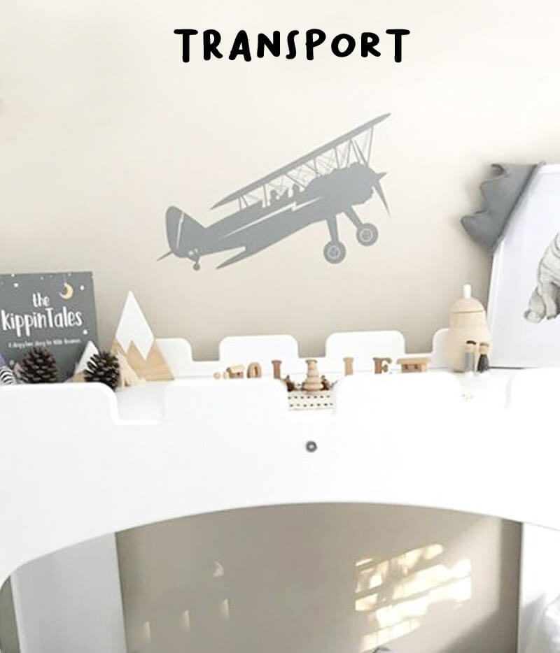 kid's wall stickers transport biplane