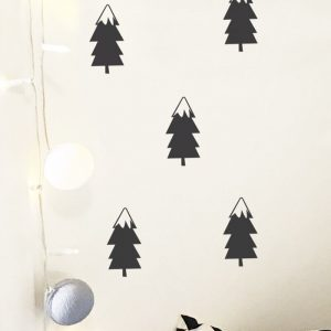 removable small snow topped christmas trees wall decals
