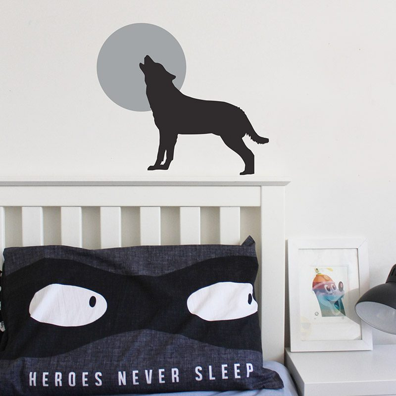wolf howling at moon wall decal
