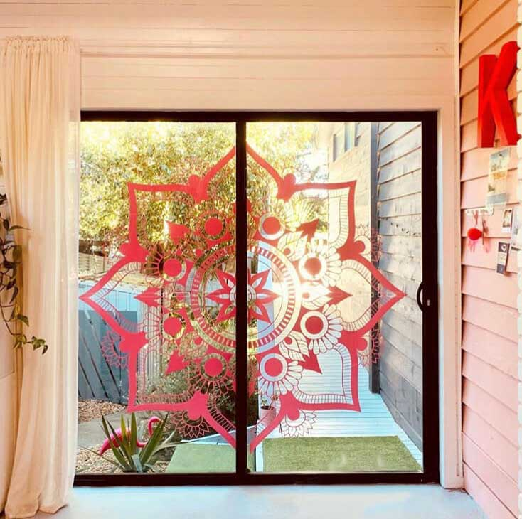 pink window mandala sticker