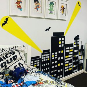 city scape wall decal batman search lights