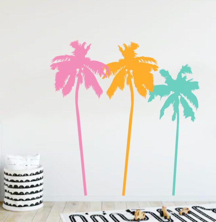 colourful palm tree decals