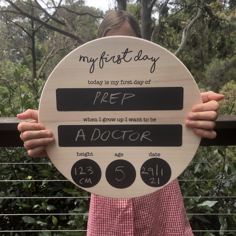 first day of school photo board
