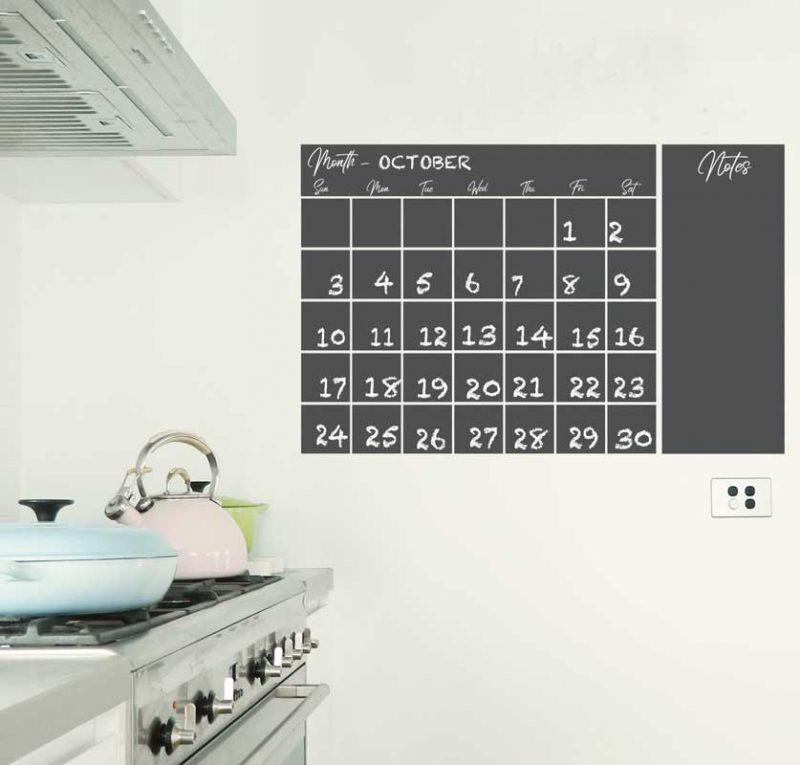 Large chalkboard calendar decal