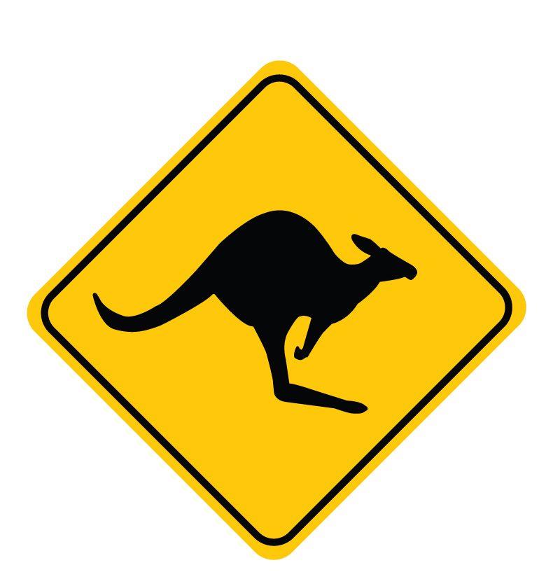 kangaroo sign wall decal